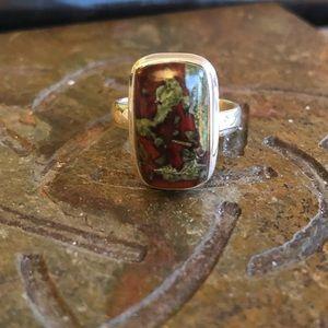 Jewelry - Dragons Blood Jasper Sterling Silver Ring Sz 6.5